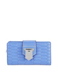 Aimee Kestenberg Quilted Leather Flip Lock Wallet Blue Iris