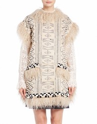 Anna Sui Faux Fur Accented Tribal Poncho Cream