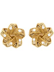 Hermes Vintage Flower Clip On Earrings Metallic