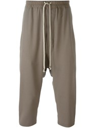 Rick Owens Cropped Drop Crotch Track Pants Grey