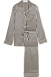 Olivia Von Halle Lila Striped Silk Satin Pajama Set Black