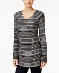 Styleandco. Style Co. Striped Tunic Sweater Only At Macy's Bold Heather Grey Combo