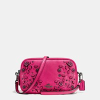 Coach Willow Floral Crossbody Clutch In Pebble Leather Dark Cerise Multi
