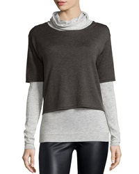 Neiman Marcus Cowl Neck Long Sleeve Duet Sweater Coal Heather Heather Gray