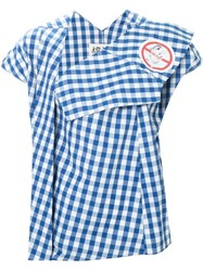 Awake Gingham Check Asymmetric Top Blue