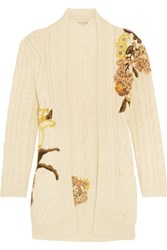 Valentino Embroidered Cable Knit Wool And Alpaca Blend Cardigan Cream