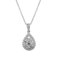 Ewa 18Ct White Gold Diamond Cluster Pear Shaped Pendant 0.66Ct