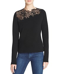 Elie Tahari Samantha Lace Panel Sweater Black