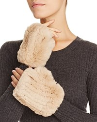 Magaschoni Fingerless Fur And Cashmere Gloves Chestnut Mouline