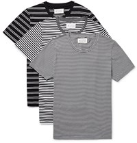 Maison Martin Margiela Three Pack Slim Fit Striped Cotton Jersey T Shirts Black