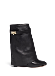 Givenchy Shark Tooth Turn Lock Leather Wedge Boots