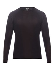 Giorgio Armani Long Sleeved Wool And Silk Blend Knit Top Navy
