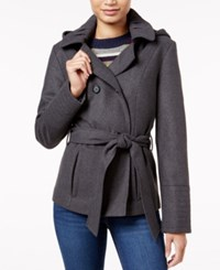 Celebrity Pink Double Breasted Hooded Peacoat Charcoal