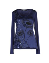 Pianurastudio Topwear T Shirts Women Blue
