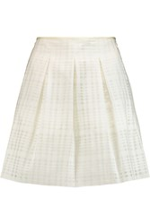 Vince Pleated Woven Cotton Blend Mini Skirt White