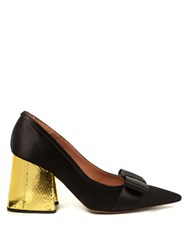 Marni Point Toe Satin Pumps Black Gold