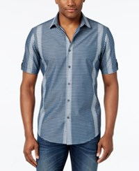 Alfani Men's Big And Tall Multi Stripe Short Sleeve Shirt Only At Macy's Blue Wing