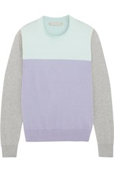 Richard Nicoll Color Block Cotton And Cashmere Blend Sweater Green