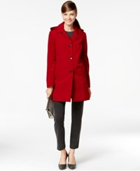 Calvin Klein Petite Hooded Rain Coat Red