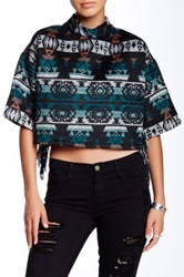 Romeo And Juliet Couture Aztec Print Short Sleeve Sweater Blue