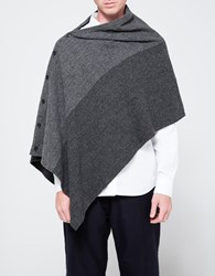 Engineered Garments Button Shawl Grey 2 Tone Wool Herringbone
