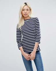 Blend She Kivi Stripe Jumper Peacoat White