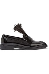 Christopher Kane Feather Trimmed Patent Leather Loafers Black