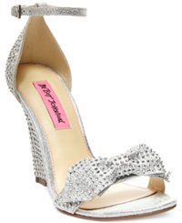 Betsey Johnson Delancyy Wedge Evening Sandals Women's Shoes Silver