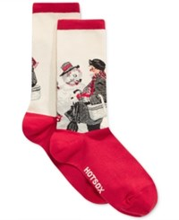 Hot Sox Women's Gramps And The Snowman Socks Red