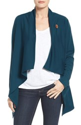 Bobeau Women's One Button Fleece Wrap Cardigan Teal Abyss