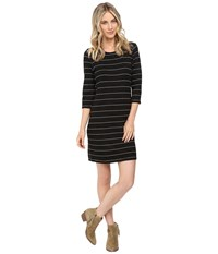 Culture Phit Ainsley Round Neck Sweater Dress Black White Women's Dress