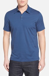 Robert Barakett 'Blair' Stripe Pima Cotton Polo Geneve Blue