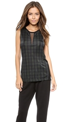 Torn By Ronny Kobo Sible Autumn Plaid Tank Green Black