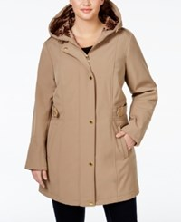 Via Spiga Plus Size Water Repellent Hooded Raincoat Beige