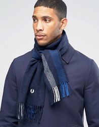 Fred Perry Striped Scarf In Cashmere Mix Navy