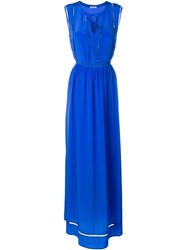 P.A.R.O.S.H. Crochet Trimmed Maxi Dress Blue