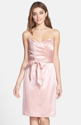 Women's Dessy Collection Cross Draped Strapless Satin Sheath Dress Rose