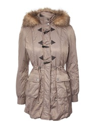 Jane Norman Fur Hood Parka Coat Mocha