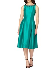 Tahari By Arthur S. Levine Shantung Sleeveless Fit And Flare Dress Emerald