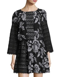 Thakoon Lace Panel Floral Print Dress Black Mult