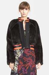 Tanya Taylor 'Fran' Faux Fur Coat Black Faux Fur