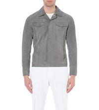 Reiss 1971 Bastian Suede Jacket Grey