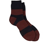 Yohji Yamamoto Pour Homme Men's Striped French Terry Knit Crew Socks Navy