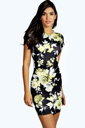 Boohoo Floral Cap Sleeve Bodycon Dress Multi