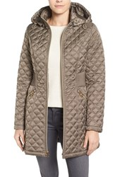 Laundry By Shelli Segal Women's Quilted Hooded Coat Taupe