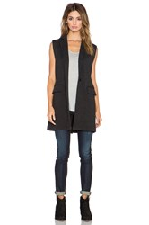 525 America Double Knit Sleeveless Blazer Charcoal