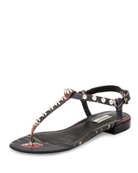 Balenciaga Studded Floral Print Leather Flat Sandal Black Red Noir Rouge