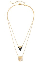 Alexis Bittar Gold Tone Wood And Crystal Necklace Black