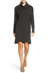 Treasure And Bond Women's Turtleneck Sweater Dress Grey Dark Charcoal Heather