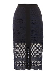Label Lab Sereno Lace Skirt Navy